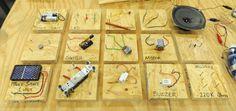 Teaching kids electronics using wooden blocks