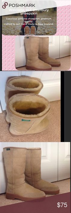 """Canterbury Sheepskin boots Genuine sheepskin boots from Canterbury Leather. Thick wool pile  lining. Measures 14"""" tall floor to top. Sueded toe and heel guard with heat molded heel for a more structured look. Size 9 . Like new Canterbury Leather Shoes"""