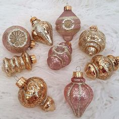 9 Christmas Mercury Glass Indent Ornaments Pink Gold Shabby Chic Vintage Look