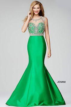 Green Mermaid Crystal Embellished Bodice Dress 22637