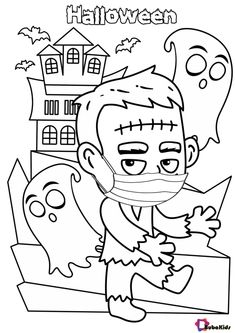 Little Frankenstein wearing a face mask. Stay safe, stay healthy during the Covid-19 pandemic. Happy Halloween to the citizens of the world. Collection of cartoon coloring pages for teenage printable that you can download and print. #ColoringPages, #Covid19, #Frankenstein, #Halloween, #StayHealthy, #StaySafe #ColoringPages, #Covid19, #Frankenstein, #Halloween, #StayHealthy, #StaySafe Halloween Coloring Pages, Cartoon Coloring Pages, Stay Safe, Frankenstein, How To Stay Healthy, Happy Halloween, Knives, Halloween Drawings, Halloween Colouring Pages