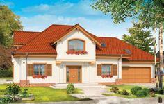 Projekt Pod dębem to obszerny dom parterowy z poddaszem użytkowym. Przeznaczony jest dla 4-5 cioosobowej rodziny. Bryła budynku przekryta czterospadowym dachem z dużymi lukarnami na każdej z elewacji sprawia, że dom wygląda atrakcyjnie z każdej strony. Wygląd zewnętrzny urozmaicono wykuszami, balkonem, podcieniem ogrodowym. Front budynku spodoba się Klientom ceniącym tradycyjną architekturę, ale nie koniecznie chcącym mieć kolumny przy wejściu do swojego domu.