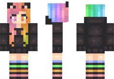 Rainbow Wolf Minecraft Skin Minecraft Girl Skins, Mc Skins, Wolf Girl, Kawaii, Minecraft Ideas, Rainbow, Random Stuff, Crafts, Birthday