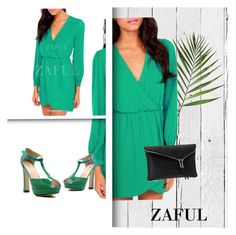 """""""http://www.zaful.com/long-sleeve-solid-color-chiffon-dress-p_84735.html?lkid=2989"""" by goldenhour ❤ liked on Polyvore featuring mode, NLXL, Henri Bendel et yeswalker"""