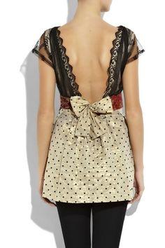black lace and polka-dot backless shirt