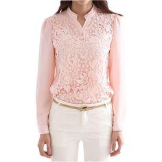 New Design Stylish Lace Women Tops Long Sleeve V Neck Chiffon Blouse Formal Casual Plus Size on http://ali.pub/36mdq