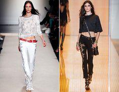 Blusa cropped + jeans de cintura baixa: Isabel Marant e Versace verão 2013