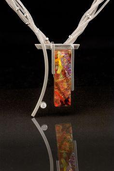 Sterling silver, fused dichroic glass, white sapphire © Vetro Caldo Designs