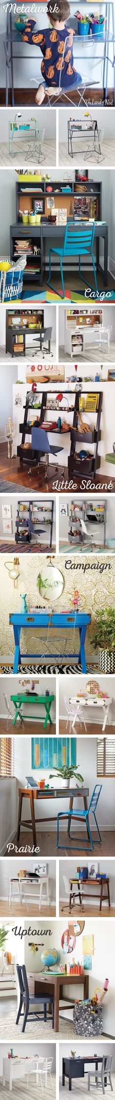 Pop quiz: what's the must-have kids furniture for acing the school year? A kids desk, of course! The Land of Nod's lineup features modern and stylish picks for any workspace. From wood desks and acrylic desks to wall desks and leaning desks, there are tons of styles to suit your need. Plus, don't forget to complete the workspace with a matching chair and hutch too.
