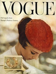 British Vogue, March 1954. Very rare to not have the model facing the camera on a magazine cover, this is quite gentle as a result.