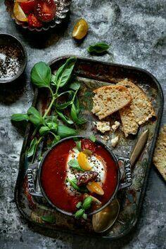 Tomato soup with black truffle burrata.