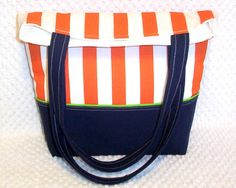 Nautical Stripes Satchel Carry-All by BizzieLizzieHandmade on Etsy