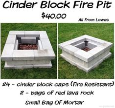 Cinder Block Fire Pit Diy Fire Pit, Fire Pit Backyard, Backyard Patio, Backyard Landscaping, Landscaping Ideas, How To Build A Fire Pit, Porch Garden, Building A Fire Pit, Desert Backyard