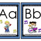 $This is a larger card set with the full alphabet and rock star clip art.   *Great for Word Walls, Bulletin Boards, Classroom Decoration, Word Work ...