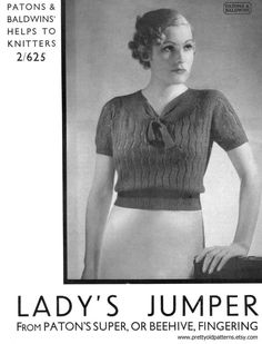 Wonderful Lace Jumper Blouse 37 Bust by PrettyOldPatterns Vintage Knitting, Vintage Crochet, Beginner Knitting Patterns, Knitting Ideas, Jumper Patterns, Crochet Humor, Moss Stitch, Knitwear Fashion, Beautiful Blouses
