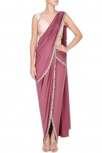 Purple Embroidered Drape Saree With An Ivory Blouse #style #perniaqureshi #sassy #designer #fashion #classy #blouse #saree #elegant #perniaspopupshop #HappyShopping #shopnow