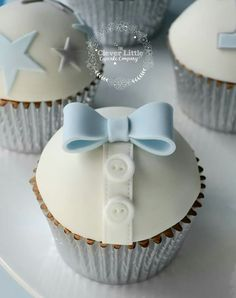 Boy cupcake christening baby shower bow tie buttons blue white cupcake toppers