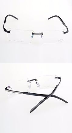 130fadc0649 Titanium eyeglasses rimless metal masculino men fashion brand designer  eyeglasses frame lunette de vue prescription-in Eyewear Frames from Men s  Clothing ...
