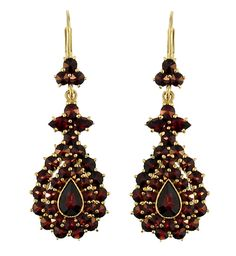 Victorian Bohemian Garnet Teardrop Earrings in 14 Karat Gold and Sterling Silver Vermeil $375.00 http://www.antiquejewelrymall.com/e164s.html