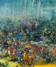 Ali Banisadr. Title: Obstruction (2010), Oil on Linen, 36x30 inches