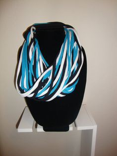 Fun Color:  Teal Black & White TShirt Necklace by DesignsByRobson on Etsy, $15.00