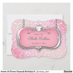 Sweet 16 Flower Damask Birthday Party Quinceanera Invitation Colored Envelopes, White Envelopes, Custom Invitations, Invites, Texas Star, Quinceanera Invitations, Envelope Liners, Baby Cards, Paper Texture