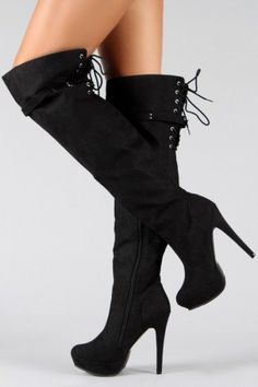 Wild Rose Gilly-06 Lace Up Thigh High Boot