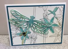 Stampin' Up! Inside the Lines paper to color with markers, colored pencils, etc., featuring Detailed Dragonfly die cut by Luv 2 Stamp Group member Paula Richards