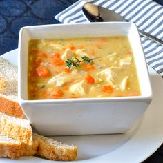 With carrots, celery & thyme...A simple, easy to prepare but nutritious soup that'd be perfect to make after a roast chicken or turkey dinner!!