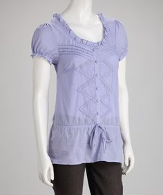 Take a look at this Lavender Tie-Waist Button-Up Top by Ruby Rose on #zulily today!