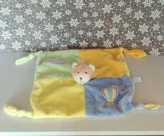 Doudou ours plat Grand carré bleu jaune vert orange montgolfière nuage Gipsy TBE