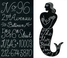 The Mermaid Inn branding - LOVE the vintage, delicate, handwritten type here