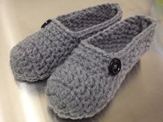 Crochet Slippers, Handmade, Chunky  Yarn Soft Grey with Black Buttons MADE TO ORDER on Etsy, $26.00
