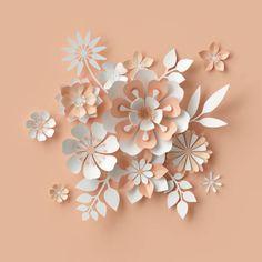 3d render abstract paper flowers bridal bouquet decorative floral