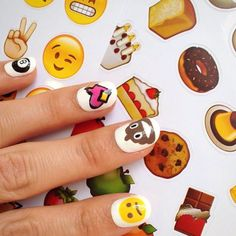 Emoji 💅 + emoji stickers from 💁😕💩💖🎱. Obsessed with emoji stickers! Emoji Nails, Us Nails, Hair And Nails, Emoji Design, Emoji Stickers, Halloween Nail Designs, Cool Nail Art, Simple Nails, Beauty Nails