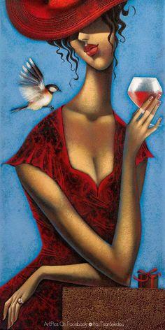 Kunst Bilder ideen - Ira Tsantekidou - Rose d& 2 Art Pop, Art And Illustration, Art Du Vin, Wine Art, Greek Art, Art Fair, Black Art, Oeuvre D'art, Female Art