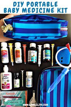 DIY Portable Medicine Kit Using a Makeup Bag - Baby Products Baby Medicine Kit, After Baby, Baby Arrival, Pregnant Mom, Baby Hacks, Baby Tips, Mom Hacks, Life Hacks, First Time Moms