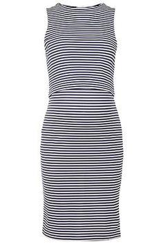 MATERNITY Overlay Striped Bodycon Dress