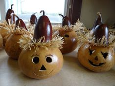 Scarecrow Gourds | Give your scarecrow a handmade gourd head crafted by one of the ...