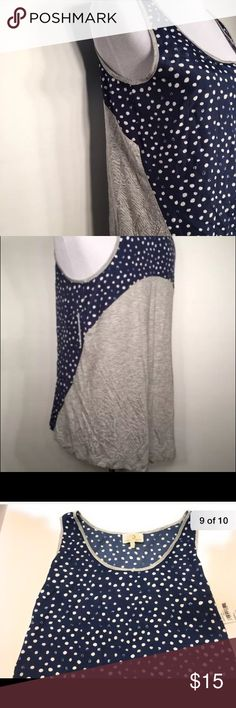 Summer Tank High Low Blue Small Nwt Nwt  100% polyester front 100% rayon back  High low tank Polka dots Nwt  100% polyester front 100% rayon back  High low tank Polka dots Collective Concepts Tops Tank Tops