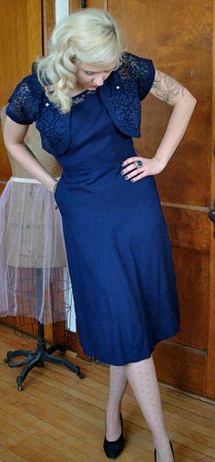 "1950s Dress Navy Sheath Dress w/Lace Bolero    Measurements:  Bust: 38""  Waist: 28""  Hip: 38""  Length: 40""    Bolero: 13"" Length    $68"