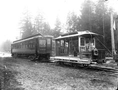 B.C.E.R. Co. interurban and open car at Hastings Park  VPL Accession Number: 7482  Date: 1908  Photographer / Studio: Timms, Philip  Content: British Columbia Electric Railway (B.C.E.R.) Company's interurban and open car at Hastings Park. Photo taken between 1908 and 1911.  One of the cars is number 1305.  http://www3.vpl.ca/spe/histphotos/