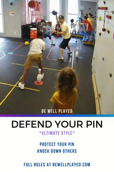 Defend Your Pin – PE & Gym Game The most versatile PE Game out there. This is Ultimate Style (throwing at pins and can't take steps with the ball). You can also play Soccer Style, Hockey Style, Throwing Footballs, Bowling, etc. Physical Education Activities, Elementary Physical Education, Pe Activities, Activity Games, Education Posters, Health Education, Education Quotes, Fitness Games For Kids, Exercise For Kids