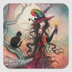 Halloween Witch and Black Cat Fantasy Art Square Sticker - tap/click to personalize and buy #SquareSticker  #halloween #black #cat #custom #stickers Halloween Drawings, Halloween Photos, Halloween Design, Scary Halloween, Vintage Halloween, Halloween Crafts, Costume Halloween, Halloween Stuff, Halloween Ideas