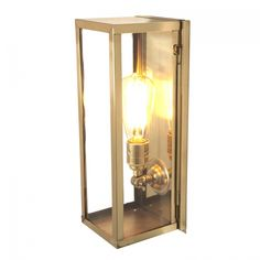 Narrow Box Wall Light, Internal Glass, Polished Brass, Clear Glass 7650
