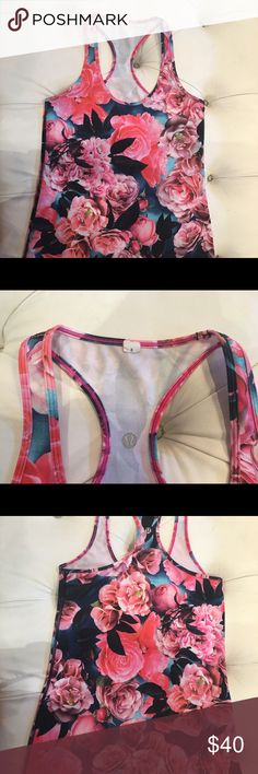 Lululemon secret garden CRB 8 Perfect condition, beautiful floral pattern lululemon athletica Tops