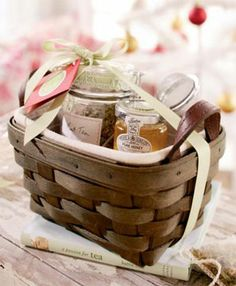 Put tea leaves and honey inside a tea basket for the tea lover in your life