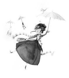 La fiancée au beurre salé So cute non Disney Mary Poppins :-) Art And Illustration, Illustration Mignonne, Watercolor Illustration, Art Fantaisiste, Art Mignon, Art Disney, Mary Poppins, Cute Images, Whimsical Art