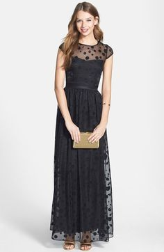 Hailey by Adrianna Papell Dotted Illusion Gown available at #Nordstrom