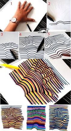 Learn how to draw a Hand Illusion. Super easy and a fun craft for kids! Learn how to draw a Hand Illusion. Super easy and a fun craft for kids! Bored At Work, Art School, High School, Middle School, Primary School Art, Design Elements, Diy And Crafts, Room Crafts, Summer Crafts